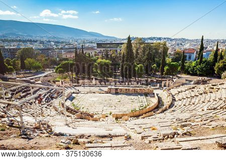 The Theatre Of Dionysus Eleuthereus Is A Major Theatre In Athens, Greece. The Theatre Built At The F