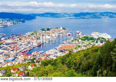 Bergen Aerial Panoramic View From Mount Floyen Viewpoint. Bergen Is A City And Municipality In Horda