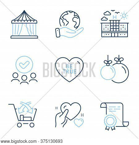 Hotel, Cross Sell And Be True Line Icons Set. Diploma Certificate, Save Planet, Group Of People. Cir