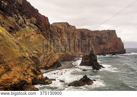 Coast Of Sao Lourenco, View To Ponta Do Rosto, On A Cloudy Day, Madeira, Portugal