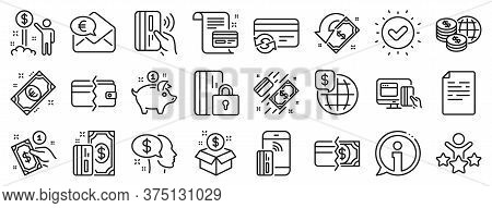 Update Credit Card, Contactless Payment And Piggy Bank Linear Icons. Money Wallet Line Icons. Online