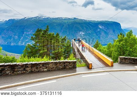 Stegastein Lookout Is A Viewpoint Platform Near The Flam Village. Flam Located At Aurlandsfjord, Bra