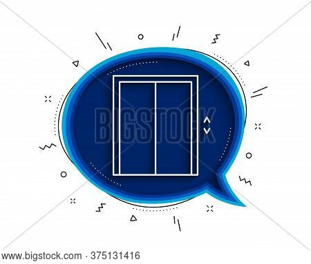 Lift Line Icon. Chat Bubble With Shadow. Elevator Sign. Transportation Between Floors Symbol. Thin L