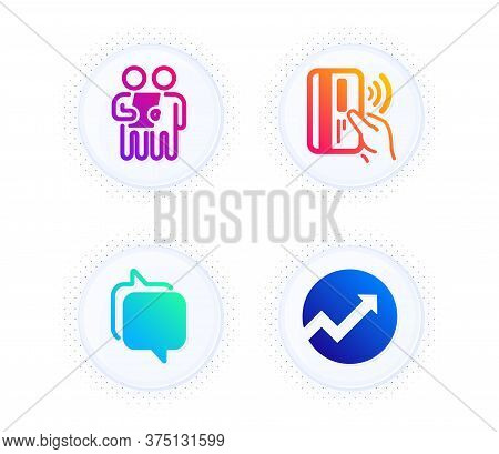 Survey, Contactless Payment And Messenger Icons Simple Set. Button With Halftone Dots. Audit Sign. C