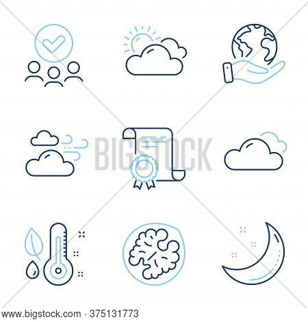 Windy Weather, Walnut And Cloudy Weather Line Icons Set. Diploma Certificate, Save Planet, Group Of