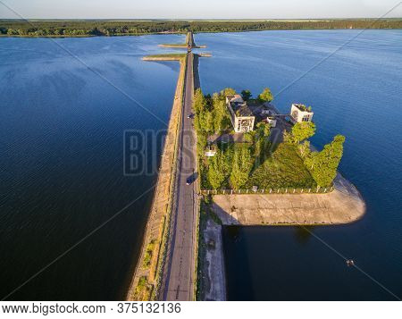 Aerial Panoramic View To Old Abandomed Pumping Station Building On Dam At Severskiy Donets River, Pe
