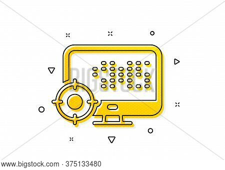 Search Engine Optimization Sign. Seo Computer Icon. Target Symbol. Yellow Circles Pattern. Classic S