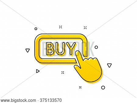 Online Shopping Sign. Click To Buy Icon. E-commerce Processing Symbol. Yellow Circles Pattern. Class