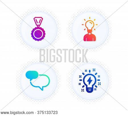 Education, Chat Message And Medal Icons Simple Set. Button With Halftone Dots. Inspiration Sign. Hum