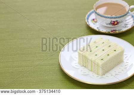 homemade traditional cucumber sandwich and tea