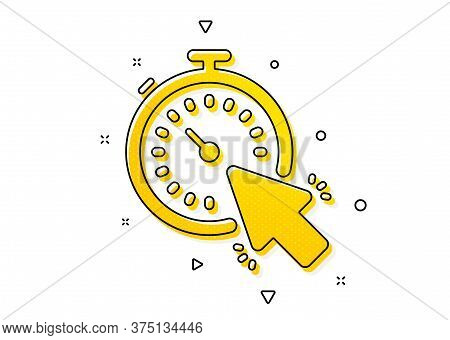 Time Or Clock Sign. Timer Icon. Mouse Cursor Symbol. Yellow Circles Pattern. Classic Timer Icon. Geo