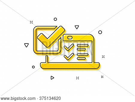 Select Answer Sign. Online Survey Icon. Web Interview Symbol. Yellow Circles Pattern. Classic Online