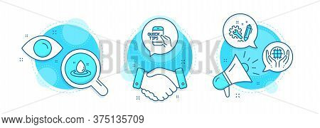 Education, Engineering And Organic Tested Line Icons Set. Handshake Deal, Research And Promotion Com