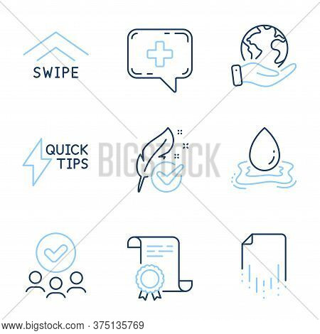 Quickstart Guide, Swipe Up And Recovery File Line Icons Set. Diploma Certificate, Save Planet, Group