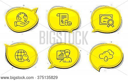 Internet Search Sign. Diploma Certificate, Save Planet Chat Bubbles. Rainy Weather, Presentation Boa
