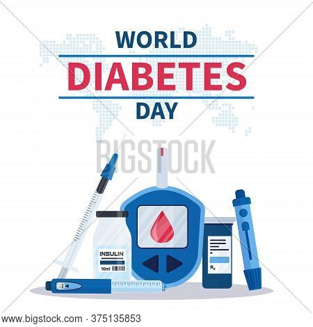 World Diabetes Day Banner Or Flyer With Insulin Pen, Glucometer, Lancets, Test Strips And Syringe. 1