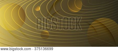 Abstract Vector Curve. Gold Geometric Movement. 3d Fluid Line. Creative Poster. Yellow Abstract Vect