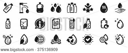 Set Of Bottle, Antibacterial Filter And Tap Water Icons. Water Drop Icons. Bacteria, Cooler And Refi