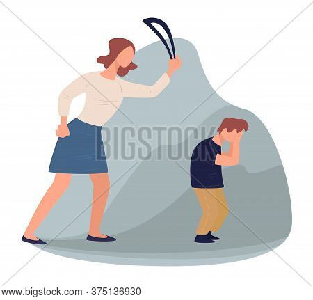 Violent Mother Beating Crying Son With Leather Belt