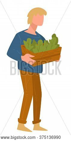 Man Carrying Pot With Growing Greenery, Farming Character