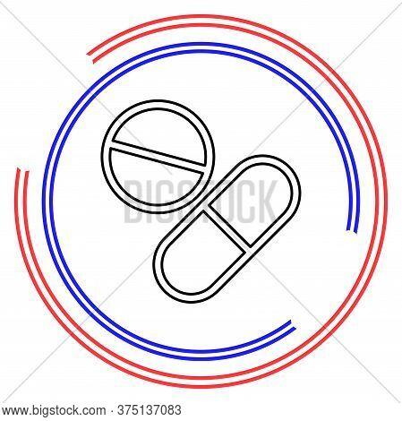 Vector Medical Pills - Medicine Icon, Capsule And Drug - Healthcare Icon, Health Tablet, Drug Symbol