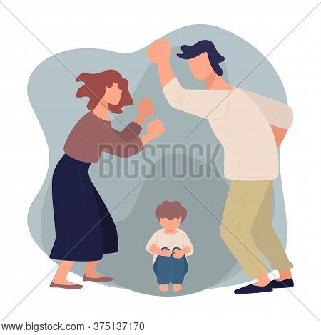 Wife And Husband Quarreling Before Scared Kid, Violence And Aggression