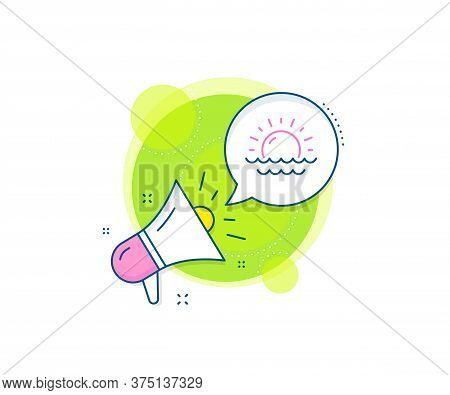 Summer Sun Sign. Megaphone Promotion Complex Icon. Sunny Weather Forecast Line Icon. Sunset With Wav