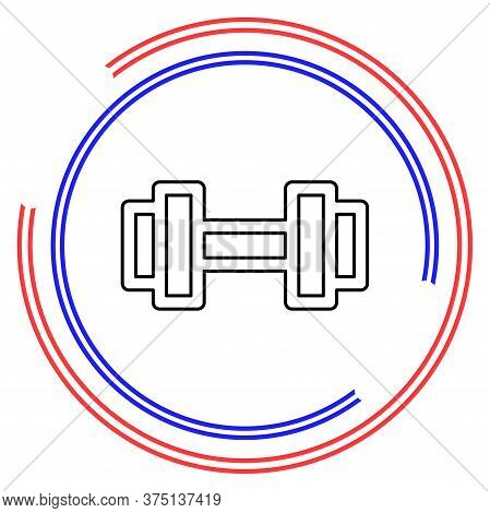 Muscle Lifting Icon, Fitness Barbell, Gym Icon, Exercise Dumbbell Isolated, Vector Weight Lifting Sy
