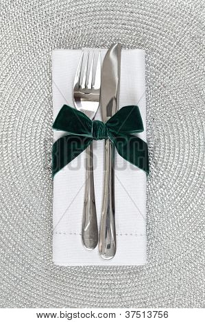 Knife And Fork Wrapped For Christmas