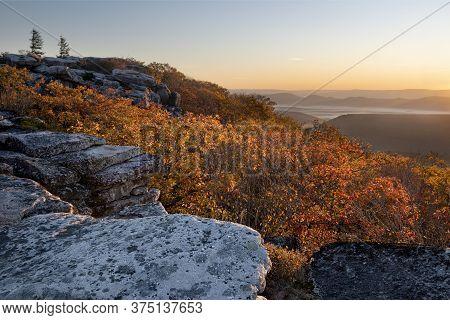 Autumn Sunrise From Overlook At Bear Rocks In West Virginia