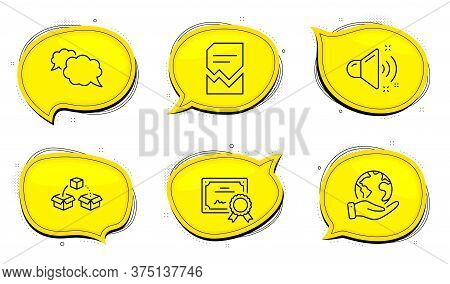 Parcel Shipping Sign. Diploma Certificate, Save Planet Chat Bubbles. Messenger, Loud Sound And Corru