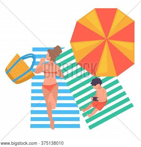 Woman And Son Resting By Seaside, Sunbathing People