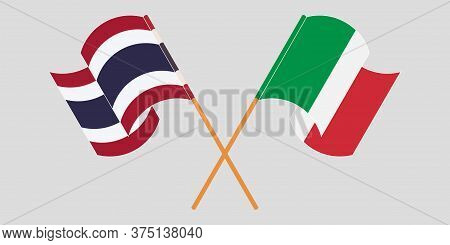 Crossed And Waving Flags Of Thailand And Italy. Vector Illustration