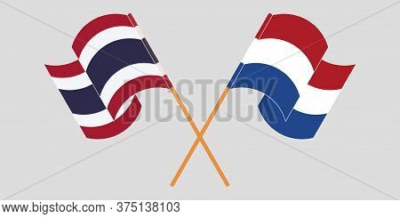 Crossed And Waving Flags Of Thailand And Netherlands. Vector Illustration