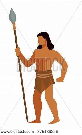 Hunter In Ancient Society, Man With Spire For Hunting