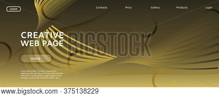 Abstract Vector Curve. Golden Futuristic Landing Page. 3d Fluid Shapes. Digital Brochure. Gold Abstr