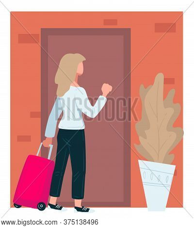 Female Character With Baggage Returning Home Knocking Doors
