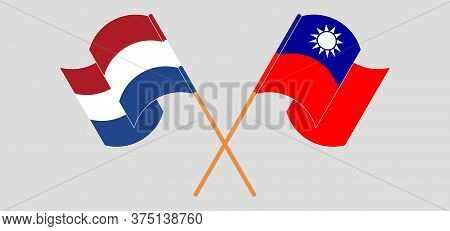 Crossed And Waving Flags Of Taiwan And Netherlands. Vector Illustration