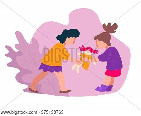 Girls Quarreling About Doll, Aggressive Kids Or Bully