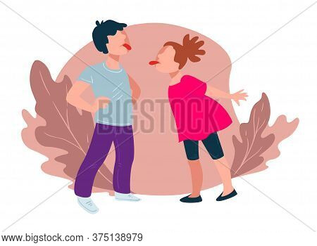 Teasing Children Showing Tongues, Boy And Girl Vector