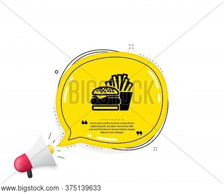 Burger With Fries Icon. Quote Speech Bubble. Fast Food Restaurant Sign. Hamburger Or Cheeseburger Sy