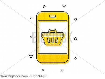 Smartphone Online Buying Sign. Mobile Shopping Cart Icon. Supermarket Basket Symbol. Yellow Circles