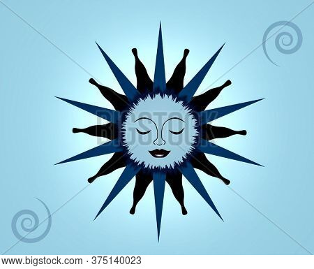 Illustration of a Blue Moon Sleeping