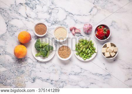 Estrogen Rich Foods, Menopause Diet. Top View.