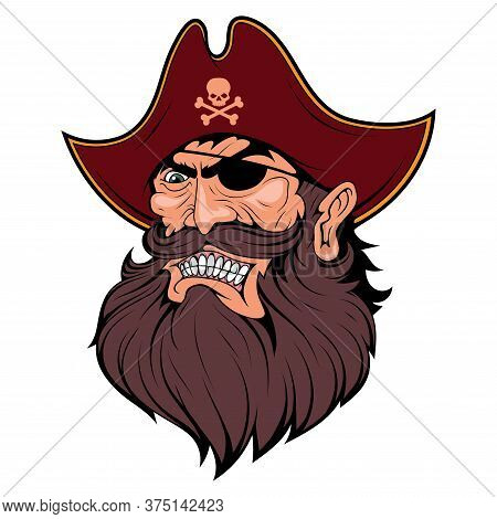Bearded Evil Pirate. Pirate Tattoo. Captain Logo. Pirate Eye. Buccaneer Hat. Vintage Sailor Characte