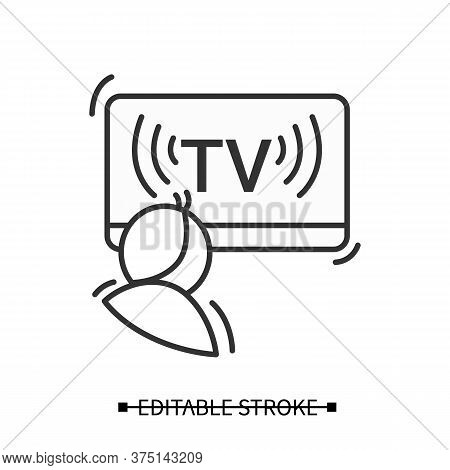 Children Tv Icon. Linear Pictogram Of Child Watching Entertainment Kids Show Broadcast. Concept Of M