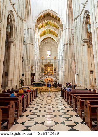 Madrid, Spain - September 20, 2017: Almudena Cathedral Or Santa Maria La Real De La Almudena Is A Ca
