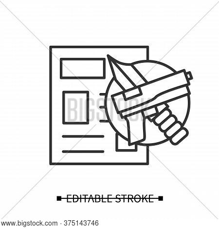 Crime News Icon. Gun And Knife With News Paper Front Page Line Pictogram. Media, Press And Informati