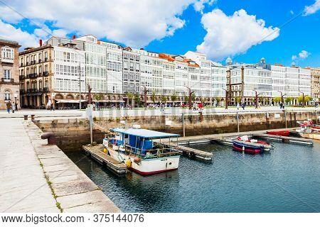 A Coruna, Spain - September 24, 2017: Yachts And Boats At The A Coruna City Port In Galicia, Spain