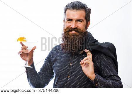 Hipster Raising Glass With Margarita. Barman, Bartender With Beard,